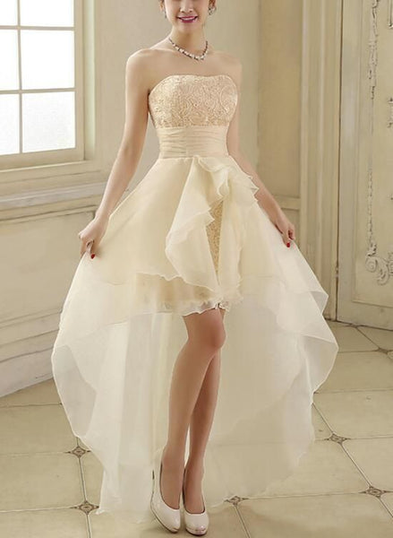 Organza And Lace Champagne High Low Homecoming Dresses, Lovely Formal Dress, Cute Party Dress,prom dress ,6415