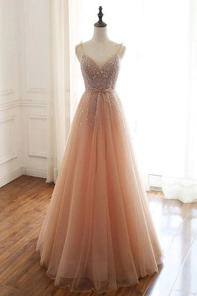 Champagne tulle beads sequin long prom dress, evening dress,6437