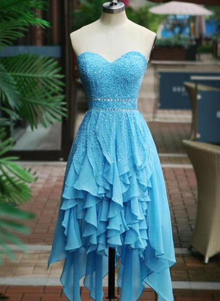 Blue High Low Beaded Lovely Homecoming Dresses, Blue Short Prom Dresses, Party Dresses,JJ644