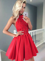 A Line Halter Short Red Satin Homecoming Dress With Lace Beading,JJ649