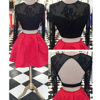 Two Pieces Long Sleeve Open Back Red Black Homecoming Dresses, JJ64
