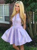 A-Line Jewel Lavender Floral Homecoming Dress with Pockets,JJ655