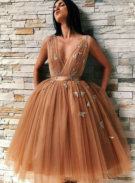 A-Line Gold Tulle V-Neck Backless Homecoming Dress With Appliques,JJ656