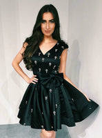 Black V-Neck Cap Sleeve Satin Homecoming Dress With Bowknot,JJ657
