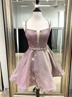 A-Line Pink Spaghetti Straps Sequins Short Homecoming Dress,JJ665