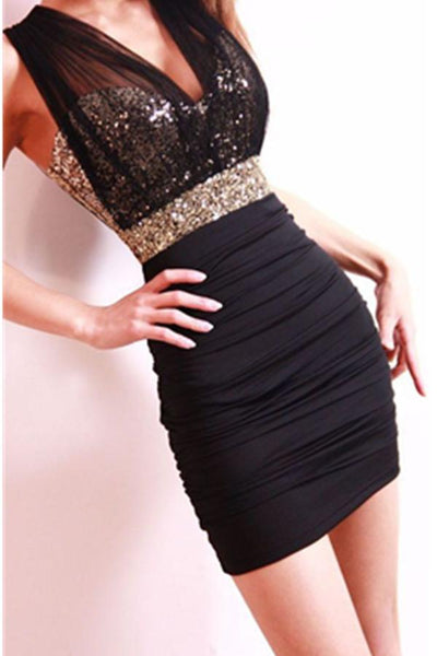 Beautiful Mermaid Black Sequins Short V-neck Homecoming Dresses,JJ672