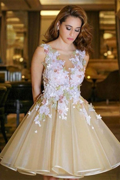 Newest Short A-line Beautiful Open Back Homecoming Dresses Party Dresses ,JJ684