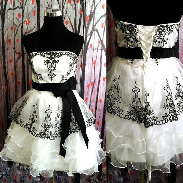 Simple Ivory And Black Short Cute Homecoming Dresses,Cute Dresses ,JJ691