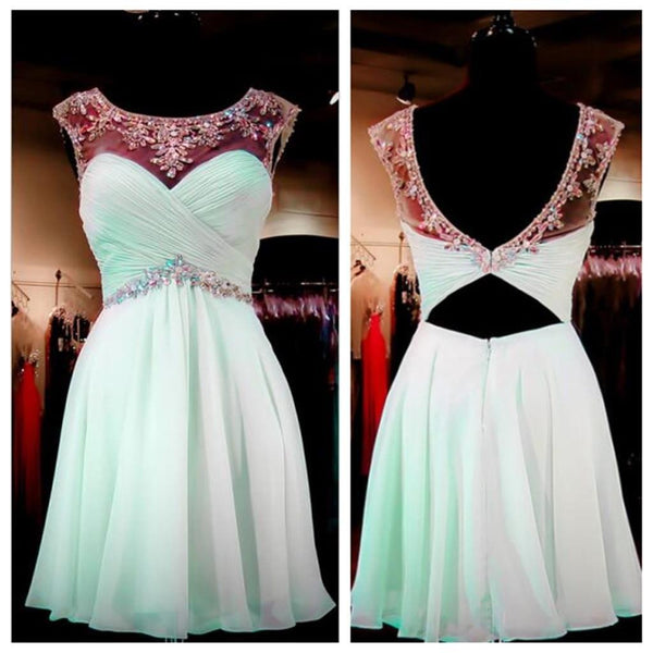 Mint Green Beaded Backless Sweet 16 Homecoming Dresses, JJ69