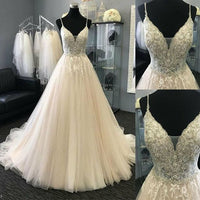 Spaghetti Straps Wedding Dresses with Beads Custom Bridal Dresses Plus Size,prom dress