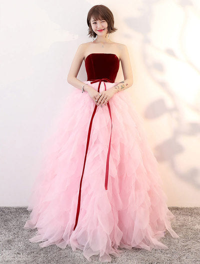 Pink tulle long prom dress, pink sweet 16 dress