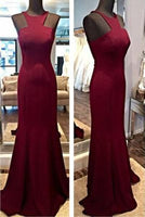 New Fashion Burgundy Fitted Bodice Modest Evening Dress Long Party Gown For Teens