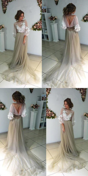 Long Sleeve Backless Prom Dress,Applique Sheer Prom Dress,Custom Made Evening Dress