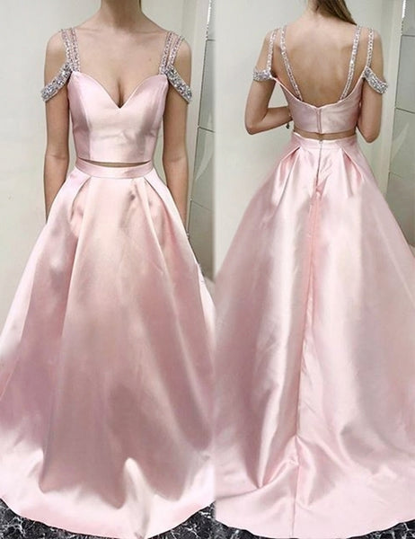 Two Piece Scoop Cold Shoulder Pink Floor-length Beading Prom Dress cheap prom dresses ,B76