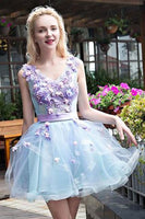 Stylish Light Blue Tulle Short Homecoming Dress with Lilac Appliques, Sweet 16 Dress,JJ711