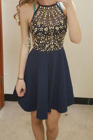 A-line Navy Blue Homecoming Dresses with Beading,Halter Short Prom Dresses, JJ716