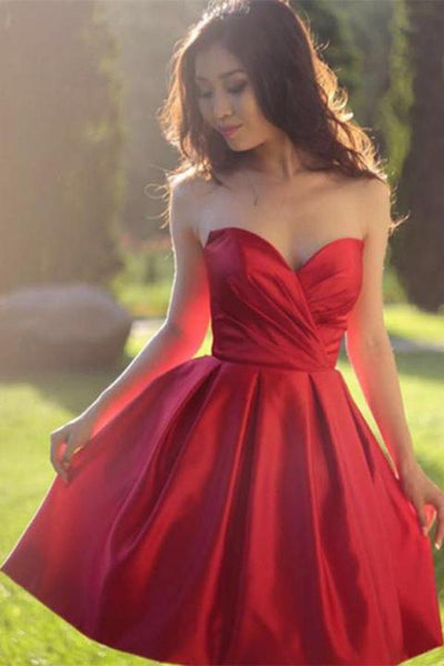 Red Sleeveless Simple Sweetheart Pleated Homecoming dresses, Party Dresses Short ,JJ735