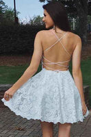 Elegant White Lace A-line Sweetheart Spaghetti Straps Backless Homecoming DressJJ736