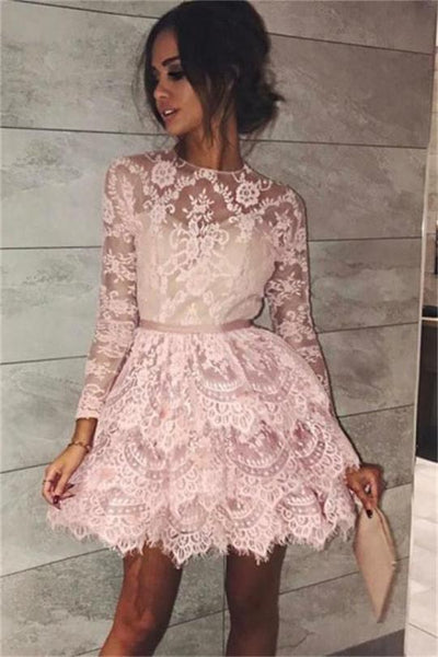 Classy Long Sleeves Pink Lace Short Homecoming Dresses Cocktail Dresses ,JJ739