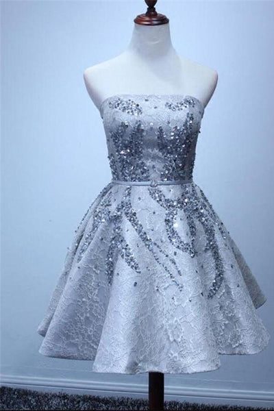 Sparkly Silver Strapless Short Lace Beading A-line Homecoming Dresses ,JJ742
