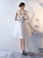 New Arrival Scoop Short Prom Dress With Floral Short Sleeve Homecoming Dress Prom Dresses,JJ753