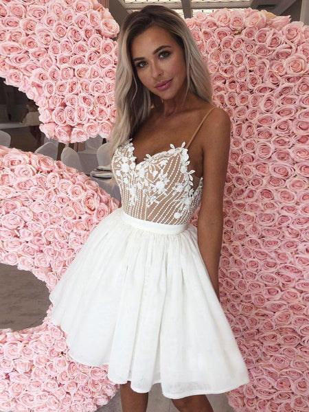 Chic A-line Spaghetti Straps Lace Homecoming Dresses Unique Short Prom Dress Homecoming Dresses ,JJ761
