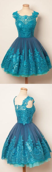 Blue Unique Applique Lovely Affordable Short Homecoming Dresses,JJ768