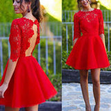 Red Half Sleeve Lace Open Back Homecoming Dresses, JJ76