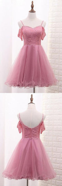 Pink Spaghetti Straps Short Tulle Party Dresses Homecoming Dresses,JJ781
