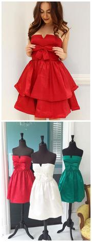 A-line Strapless Short Prom Dress With Bowknot Cute Red Homecoming Dresses ,JJ782