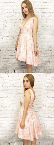 High Low Homecoming Dress A-line Pink V neck Lace Homecoming Dresses ,JJ784