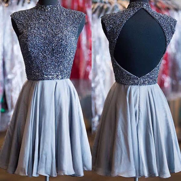 Grey Beads High Neck Open Back Vintage Homecoming Dresses,JJ78