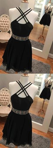 Simple Sexy Backless Short Black Homecoming Dresses With Rhine Stones,JJ804