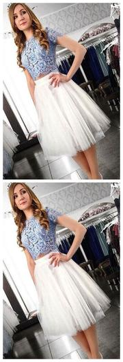 Two Piece Homecoming Dress,Lace Top Homecoming Dress,Short Homecoming Dresses,Short Sleeves Homecoming Dresses, JJ809
