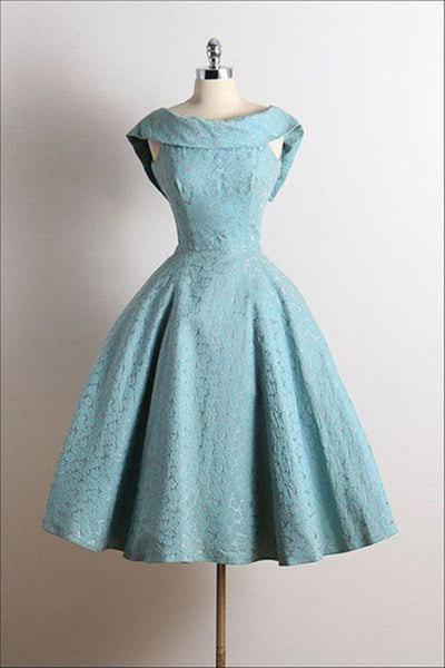 Cute Vintage Scoop A-Line Sleeveless Knee-Length Lace Blue Homecoming Dresses,JJ824