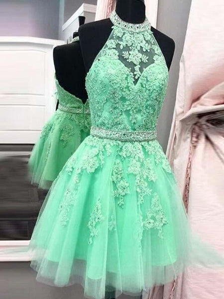Mint Green Halter Backless Short Tulle Homecoming Dresses With Lace Appliques, Elegant Beading Homecoming Dresses, JJ836