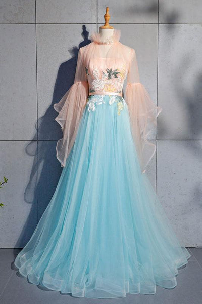 BLUE TULLE LACE LONG PROM DRESS, BLUE TULLE EVENING DRESS,JJ838