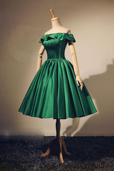 SIMPLE GREEN SHORT PROM DRESS, GREEN EVENING DRESS,JJ840
