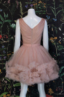 CHAMPAGNE PINK TULLE SHORT PROM DRESS, CHAMPAGNE TULLE FORMAL DRESS,JJ844