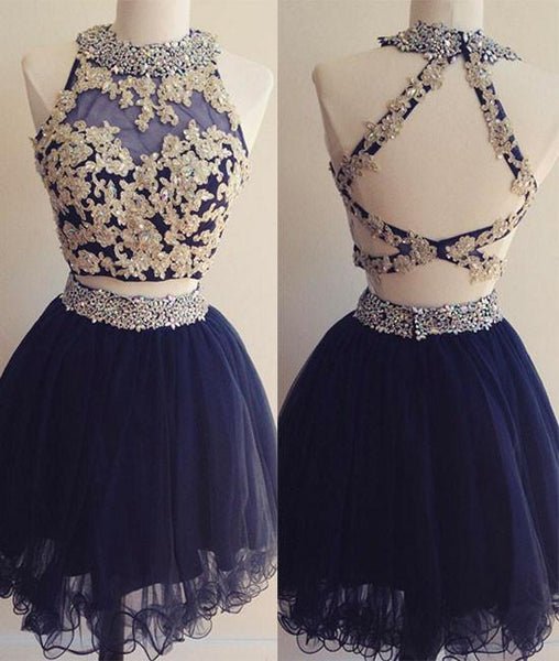 Dark blue tulle lace 2 pieces short prom dress, homecoming dress,JJ875