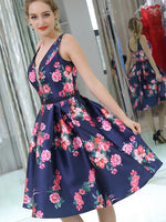 Princess Short A-line Floral Homecoming Dress,JJ881