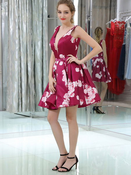 Short A-line Floral Homecoming Dress with V Back,JJ883