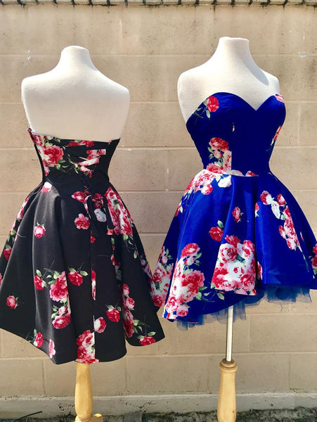 Sweetheart Short Floral Homecoming Dress with Zip up,JJ885