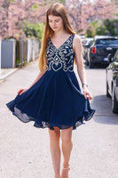 V-Neck Beading Navy Blue Chiffon Homecoming Dress,JJ886