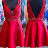 Red V Neck Cute Teenager V Back Short Homecoming Dresses, JJ88
