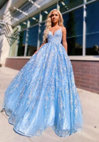 Blue lace tulle long prom dress evening dress  ,B8
