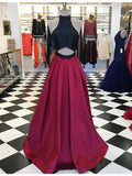 High Neck Prom Dress, A Line Prom Dress, Sexy Prom Dresses,Burgundy Prom Dress, Long Party Dress, Prom Dress for Seniors, Prom Dress ,B78