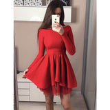 Red Long Sleeves Lovely Popular Cheap Short Homecoming Dresses, JJ08