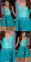 A-Line Spaghetti Straps Turquoise Homecoming Prom Dress with Beading ,JJ908