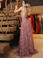 A-line V-neck Pink Lace Evening Dresses Cheap Prom Dresses,JJ917